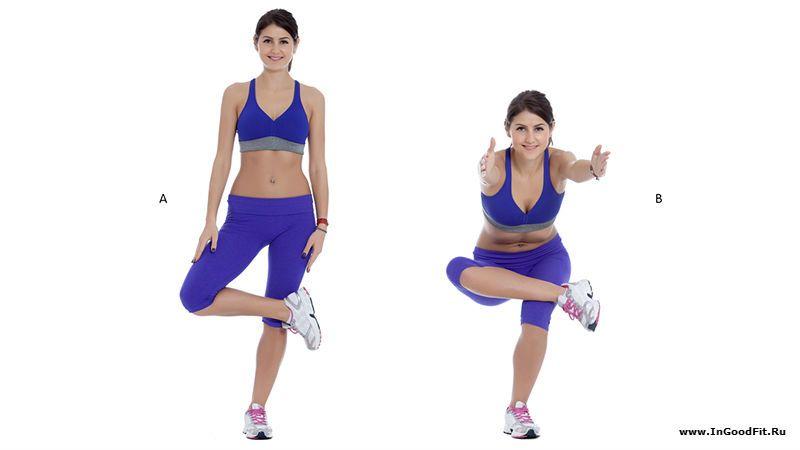 приседание на одной ноге. упражнение с собственным весом.